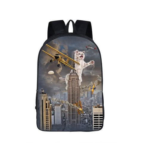"Funny Pop Culture Kitty Cat Backpack (17"") King Kong Cat"