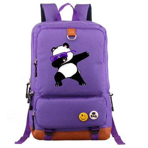 Purple Dabbing Panda Backpack