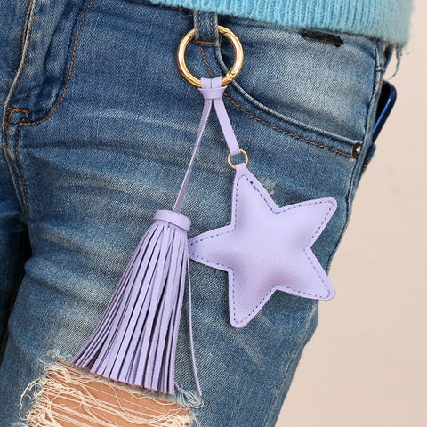 Leather Star Tassel Keychain / Bag Charm