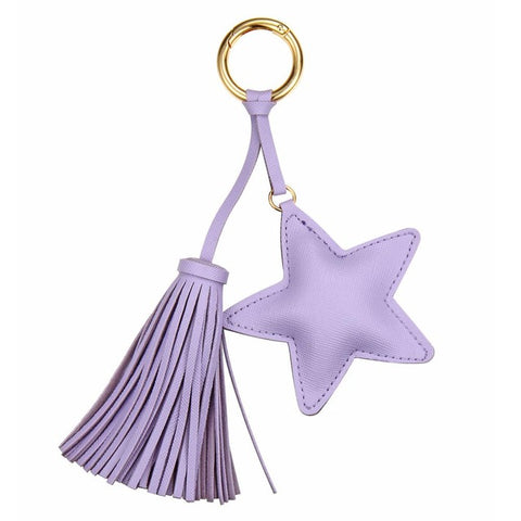Leather Star Tassel Keychain / Bag Charm Purple