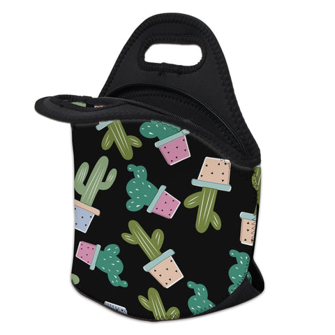 Insulated Neoprene Cactus Pattern Lunch Bag