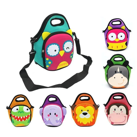 Kids Insulated Neoprene Animal Face Lunch Bag