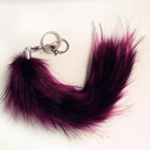 Multi-Colored Faux Raccoon Tail Keychain / Bag Charm Red