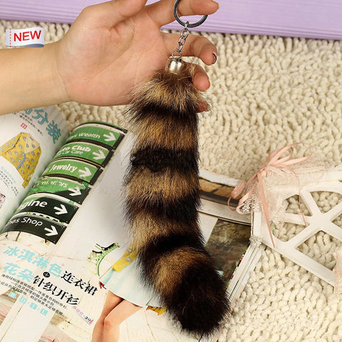 Multi-Colored Faux Raccoon Tail Keychain / Bag Charm