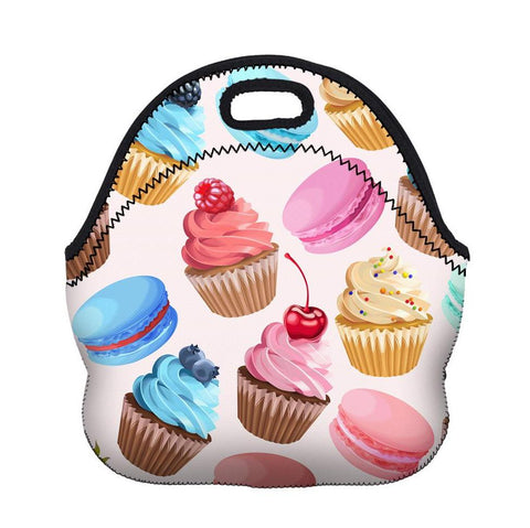 White Insulated Neoprene Cupcake Pattern Lunch Bag
