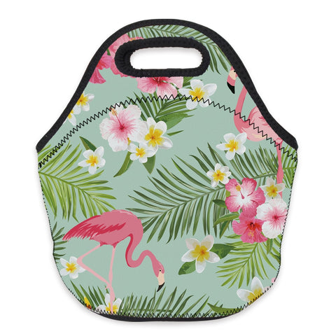 Insulated Neoprene Floral Pink Flamingo Lunch Bag