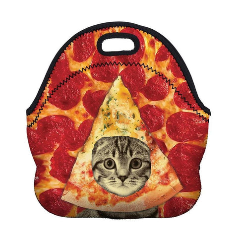 Insulated Neoprene Pizza Cat Lunch Bag