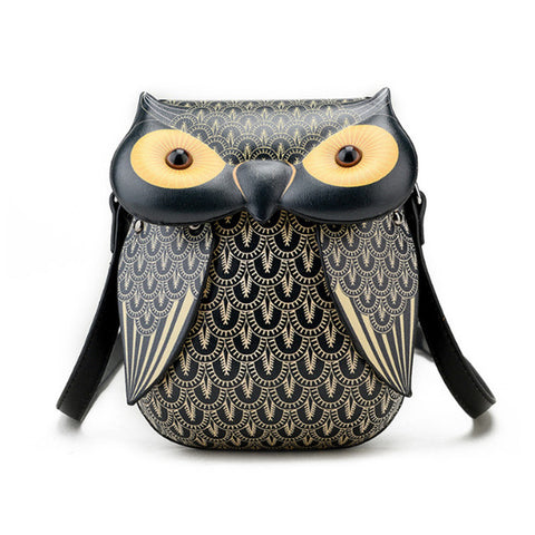 Mini Black Owl Messenger Bag