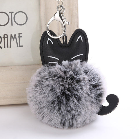 Fluffy Pom Pom Kitty Cat Keychain / Bag Charm Gray