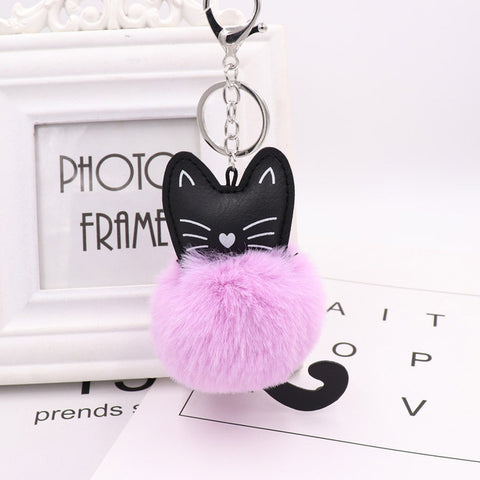 Fluffy Pom Pom Kitty Cat Keychain / Bag Charm Light-Purple