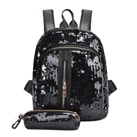 Mini Multi-Color Sequin Backpack w/ Pencil Case Black