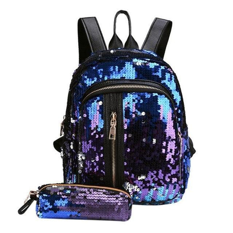 Mini Multi-Color Sequin Backpack w/ Pencil Case Blue