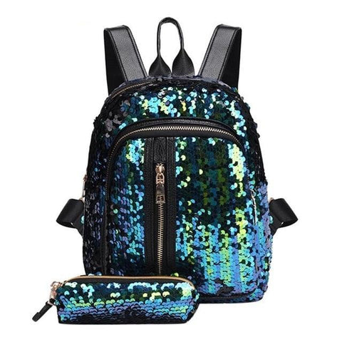 Mini Multi-Color Sequin Backpack w/ Pencil Case Teal
