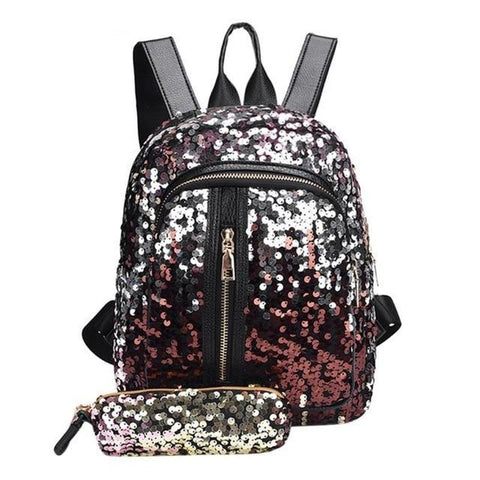 Mini Multi-Color Sequin Backpack w/ Pencil Case Red