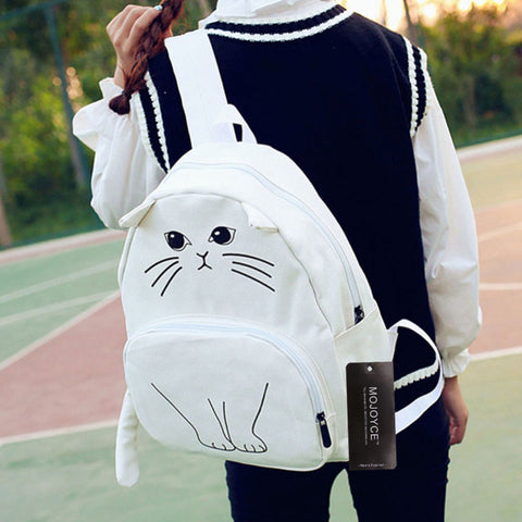 White Canvas Cat Backpack