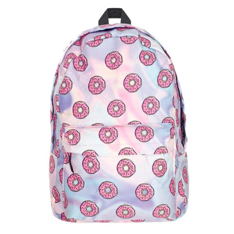 Pink Donut Print Backpack
