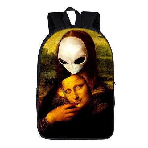 Alien Mona Lisa Backpack