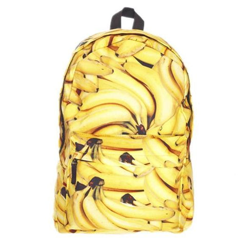 Canvas Banana Print Backpack
