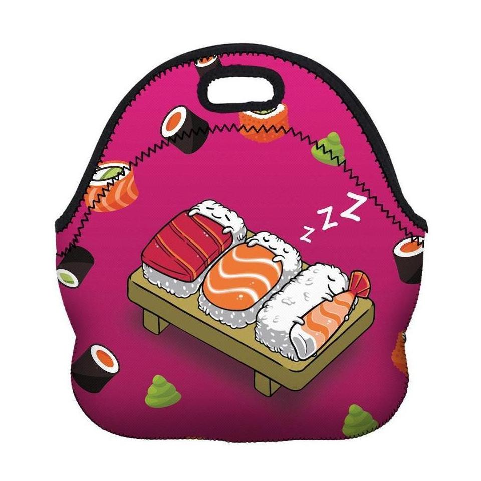 Cute Insulated Neoprene Sushi Print Lunch Bag