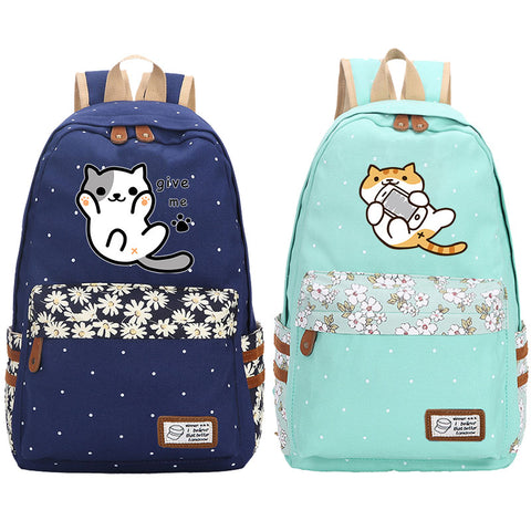 "Neko Atsume Anime Cat Backpack w/ Flowers (17"")"