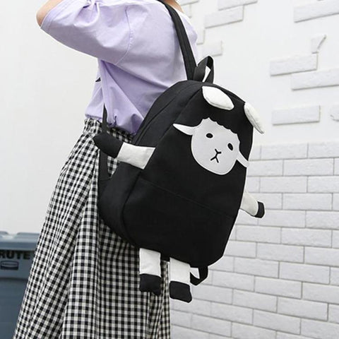 Black Canvas Sheep Backpack