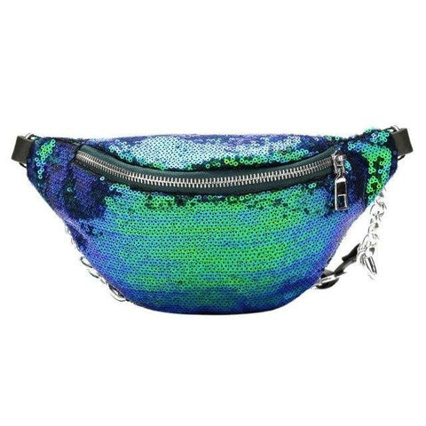 Blue Sequin Fanny Pack