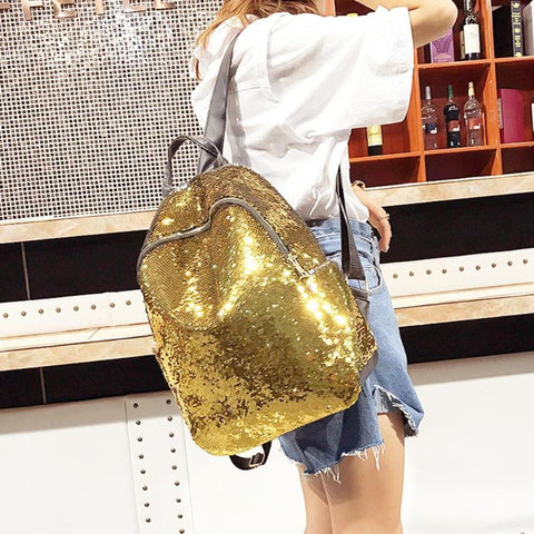 Solid Glittery Sequin Backpack