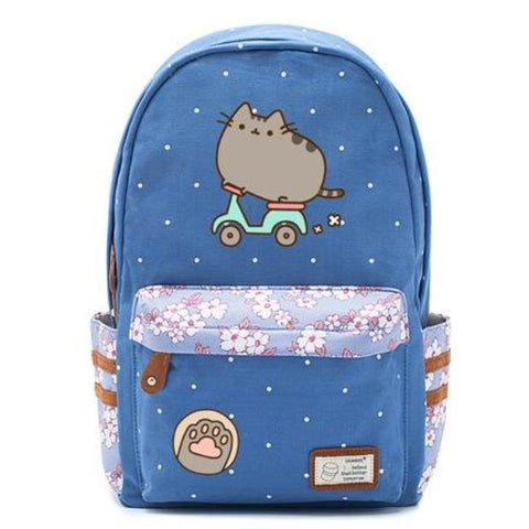 Blue Pusheen Cat Backpack Style 3
