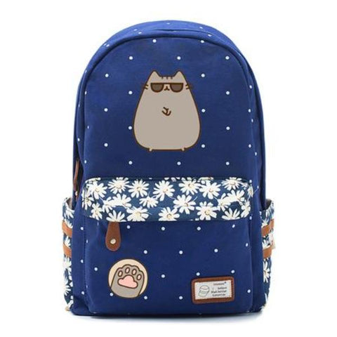 Navy Pusheen Cat Backpack Style 4
