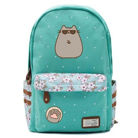 Teal Pusheen Cat Backpack Style 4