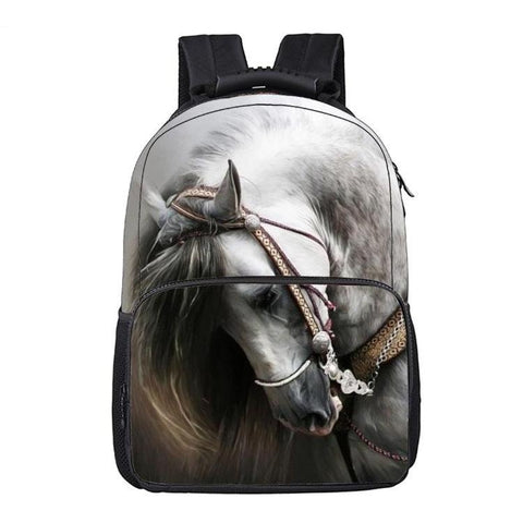 White Spanish Horse Print Backpack
