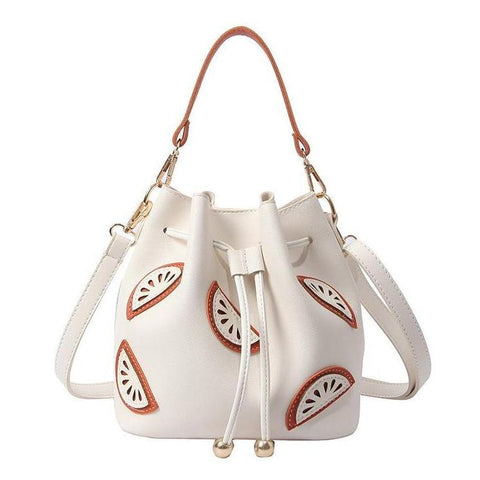 "Watermelon Pattern Bucket Bag / Handbag (8"") White / PU Leather"