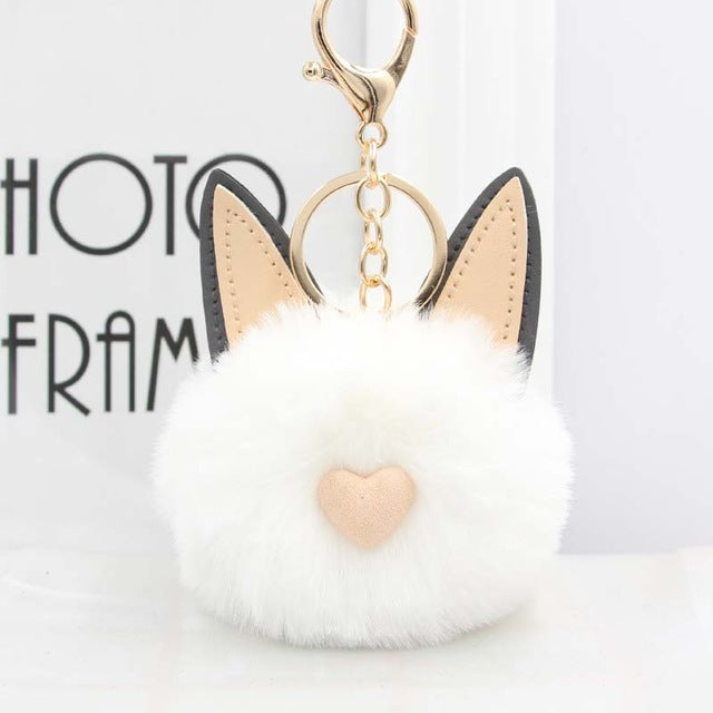 Fluffy Pom Pom Cat Ears Keychain / Bag Charm White