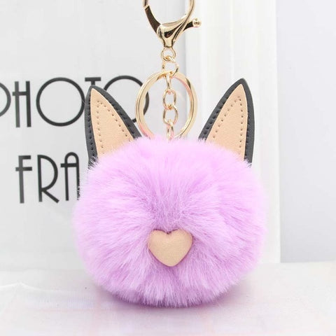 Fluffy Pom Pom Cat Ears Keychain / Bag Charm Light-Purple