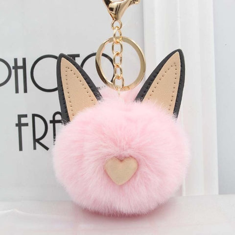 Fluffy Pom Pom Cat Ears Keychain / Bag Charm Pink