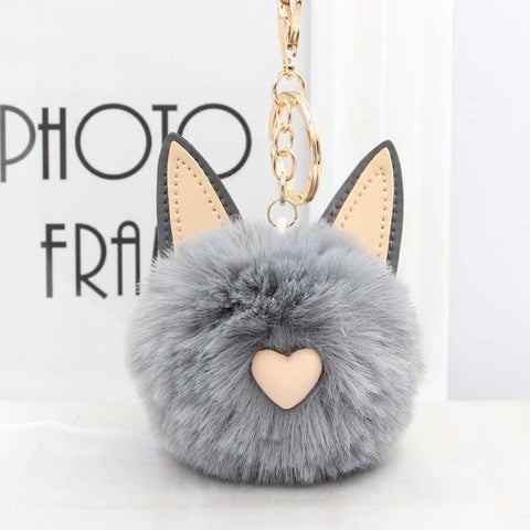 Fluffy Pom Pom Cat Ears Keychain / Bag Charm Gray