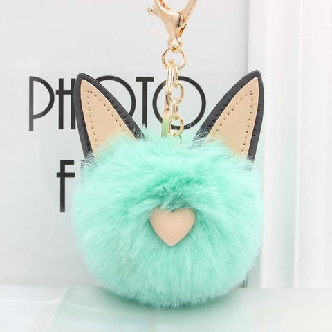 Fluffy Pom Pom Cat Ears Keychain / Bag Charm Teal