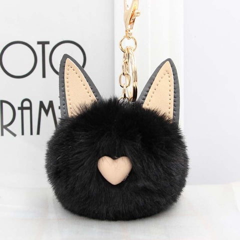 Fluffy Pom Pom Cat Ears Keychain / Bag Charm Black