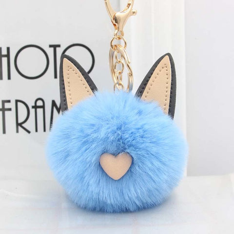 Fluffy Pom Pom Cat Ears Keychain / Bag Charm Blue