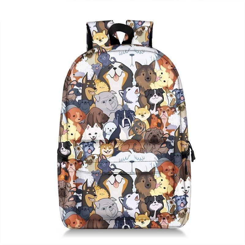 Cute Cartoon Dog Print Backpack