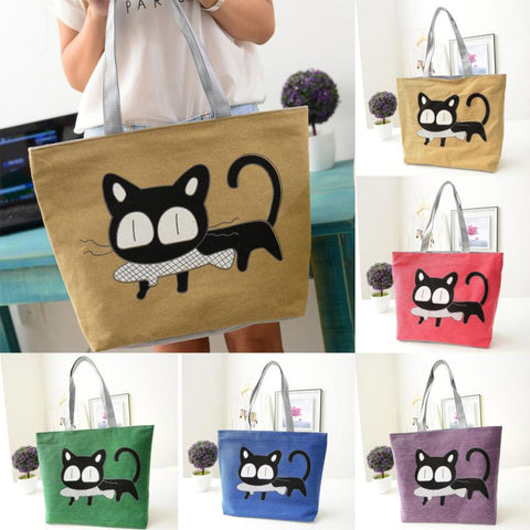 Cartoon Kitty Cat With Fish Shoulder / Tote Bag