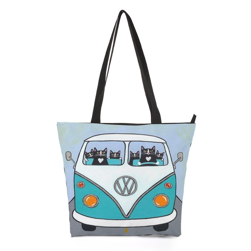 Car Driving Cat Tote Bag Style 1