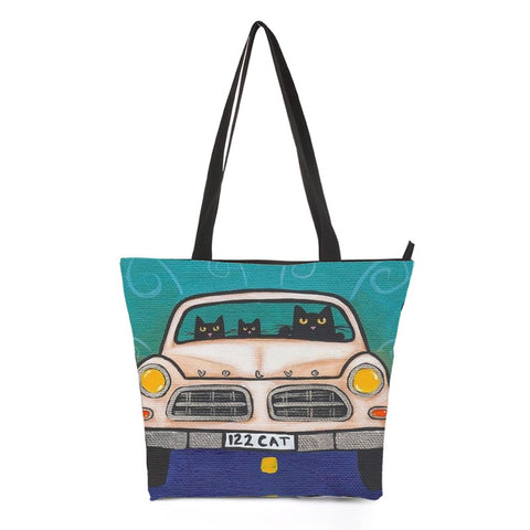 Car Driving Cat Shoulder Bag Style 3