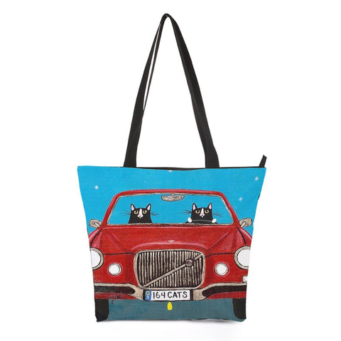 Car Driving Cat Tote Bag Style 4
