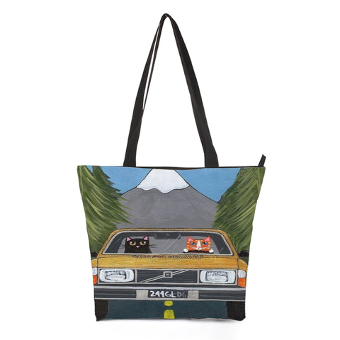 Car Driving Cat Shopping Bag Style 5