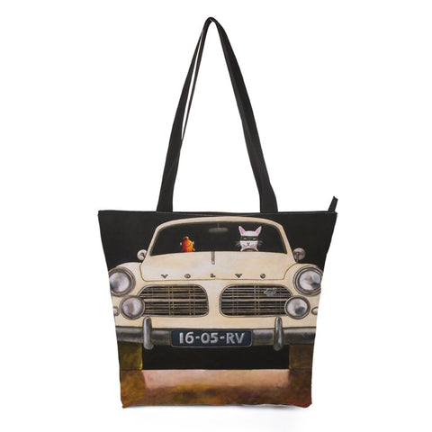 Car Driving Cat Tote Bag Style 6