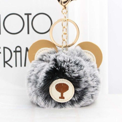 Fluffy Pom Pom Teddy Bear Keychain / Bag Charm Dark-Gray