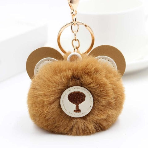 Fluffy Pom Pom Teddy Bear Keychain / Bag Charm Brown