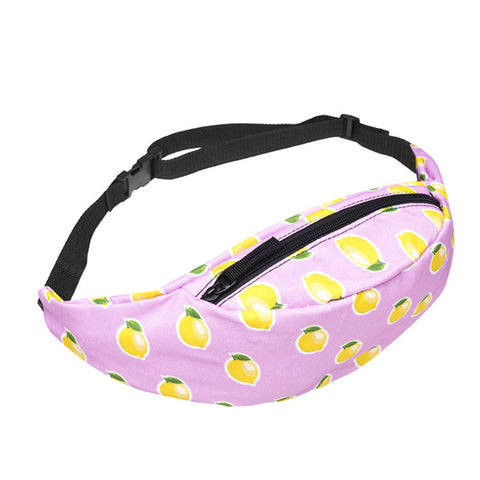Pink Lemon Print Fanny Pack Waist Bag