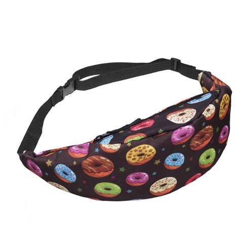 Colorful Donut Print Fanny Pack Waist Bag
